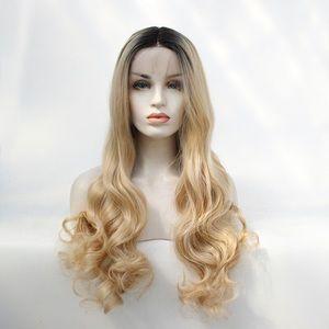 Wavy lace front wigs fiber ombre color wigs